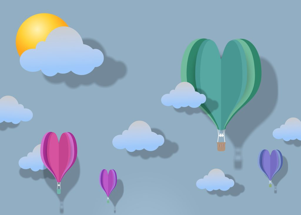 hot air balloon, heart, 3d