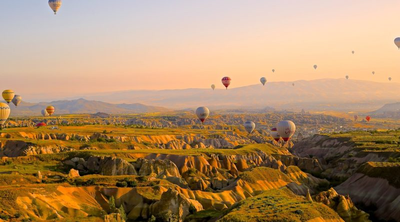 hot air balloons, flying, above